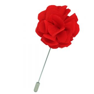 Boutonniere rouge soie la belle touche fabrique a la main en France